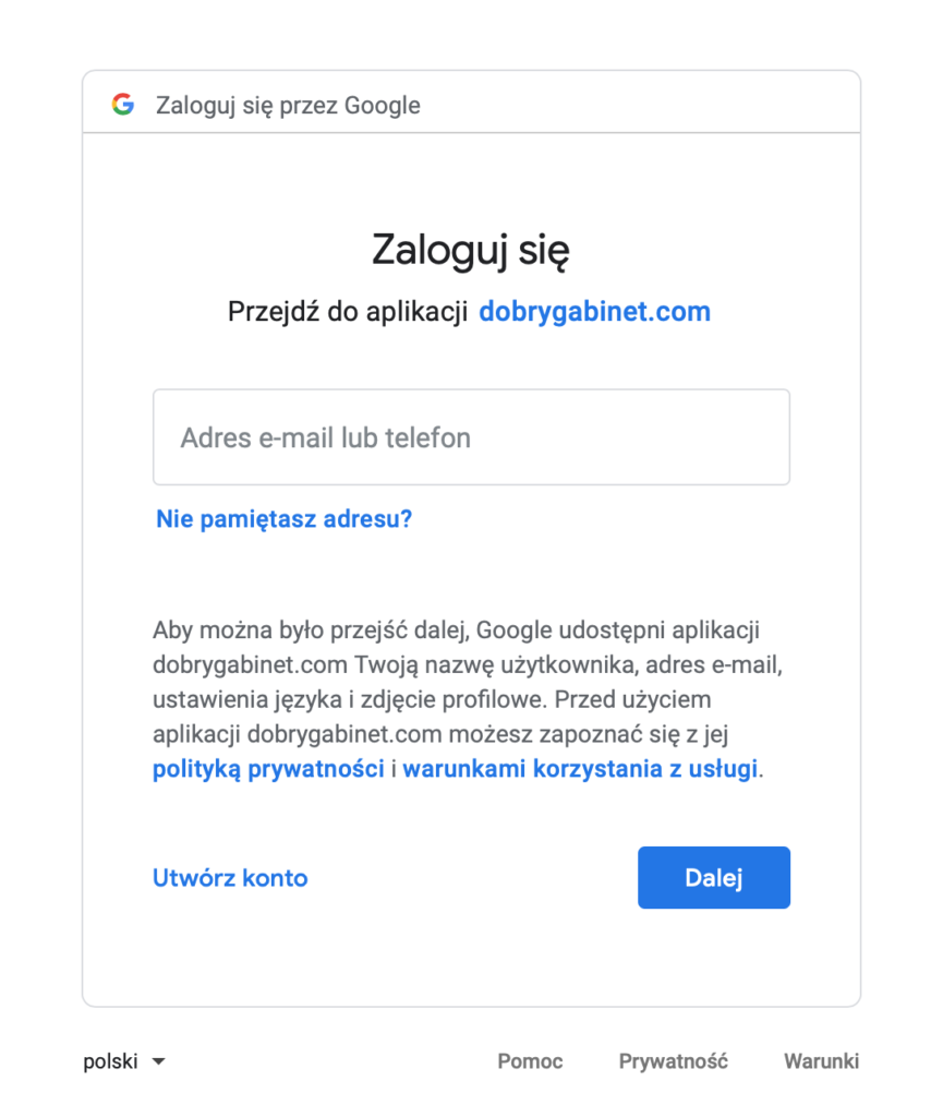 Ekran logowania do Google przy rejestracji do DobregoGabinetu