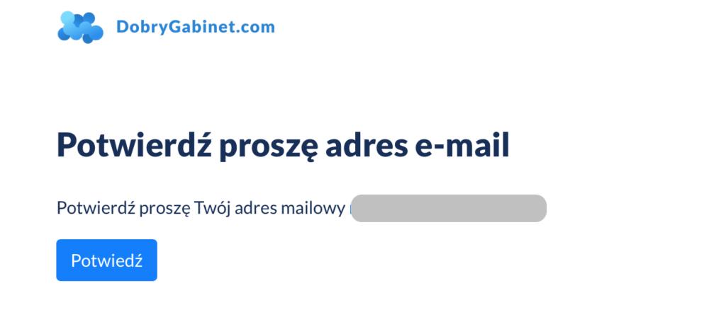 Ekran potwierdzenia adresu email.