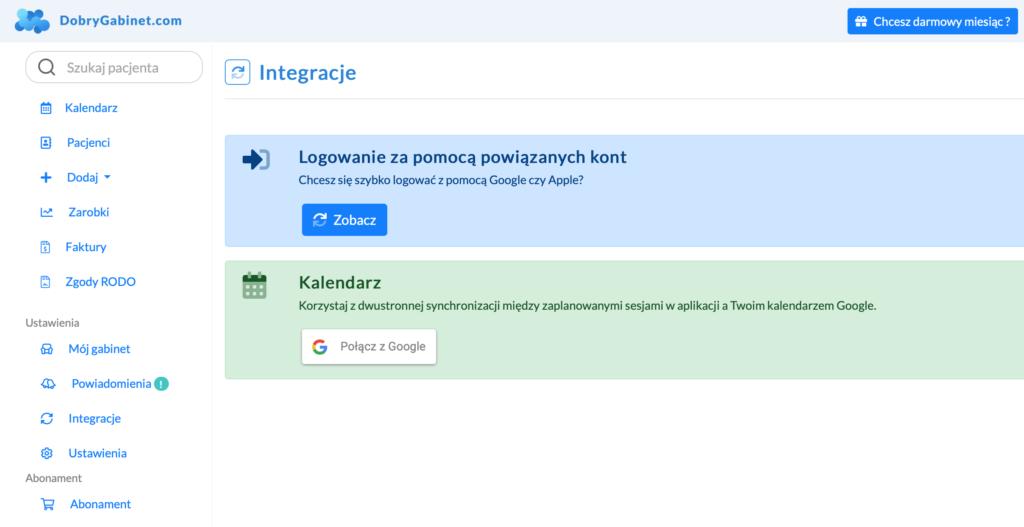 Ekran Integracji przed połączeniem