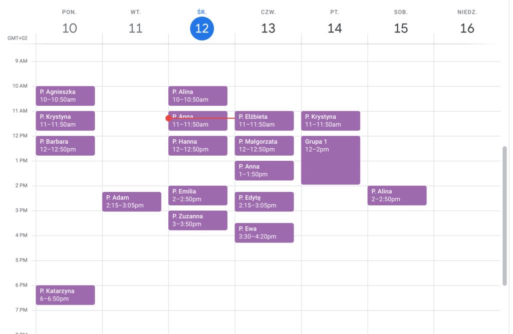 Kalendarz w Google Calendar