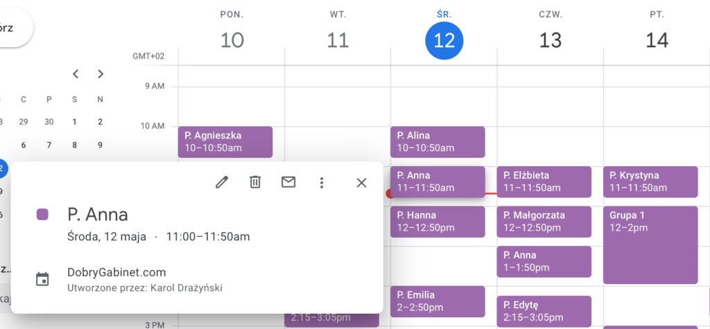 Atrybuty spotkania w Google Calendar
